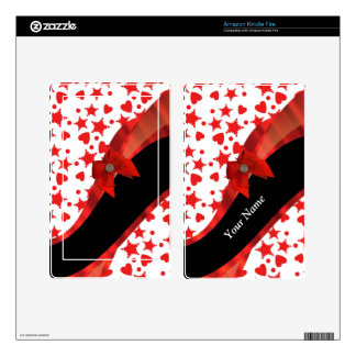 Pretty girly personalized red and white kindle fire decal