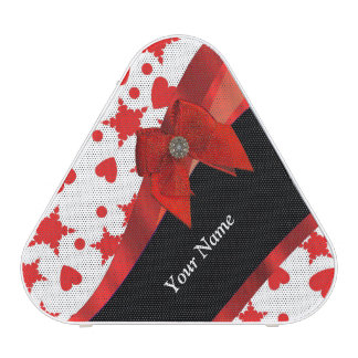 Pretty girly personalized red and white speaker