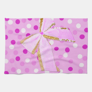 Pretty Girly Pink Bow On Polka Dots Hand Towel