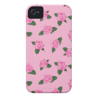 Pretty girly pink roses flowers pink background Case-Mate iPhone 4 cases