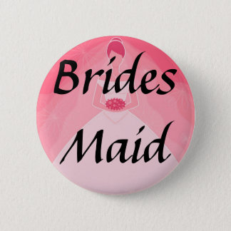 Pretty Girly Pink Simple Bridesmaid Pinback Button