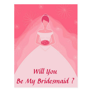Pretty Girly Pink Simple Bridesmaid Postcard