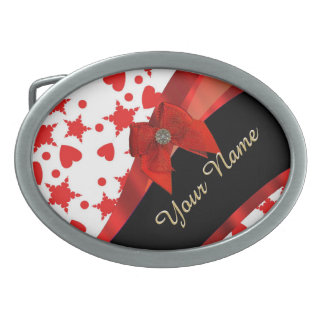 Pretty girly red and white patterned monogram belt buckle