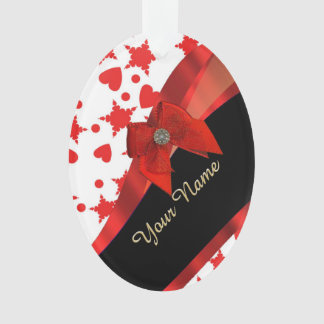 Pretty girly red and white patterned monogram ornament