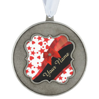 Pretty girly red and white patterned monogram pewter ornament