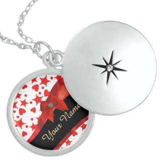 Pretty girly red and white patterned monogram round locket necklace