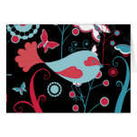 Pretty Girly Spring Birds Butterfly Flowers Vines Greeting Card