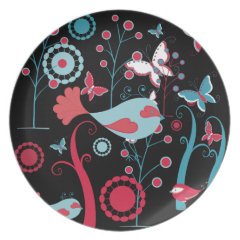 Pretty Girly Spring Birds Butterfly Flowers Vines Party Plates