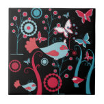 Pretty Girly Spring Birds Butterfly Flowers Vines Tiles