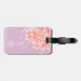 pretty girly spring watercolor floral pink peony luggage tag