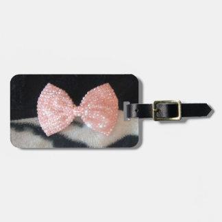 Pretty Girly Zebra Print & Pink Diamante Bling Bow Bag Tag
