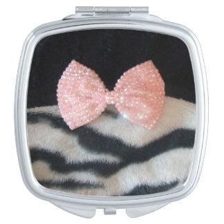 Pretty Girly Zebra Print & Pink Diamante Bling Bow Compact Mirror