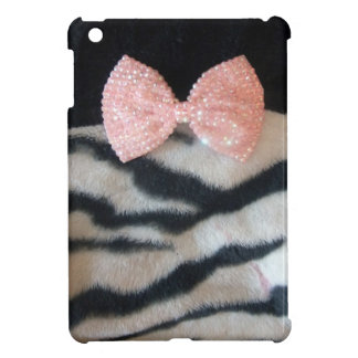 Pretty Girly Zebra Print & Pink Diamante Bling Bow Case For The iPad Mini