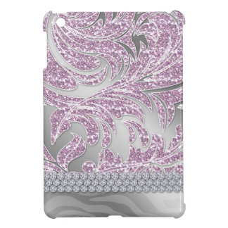 Pretty Glitter Leaves iPad Cover Baby Pink