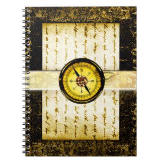 Pretty Gold Ancient Tome Fantasy Scrapbook Spiral Notebook