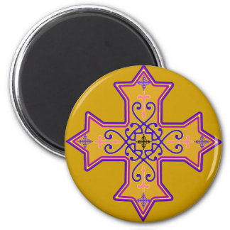 Pretty Gold and Pink Coptic Cross Magnet