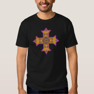 Pretty Gold and Pink Coptic Cross Tee Shirt