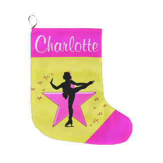 PRETTY GOLD AND PINK PERSONALIZED SKATING STOCKING LARGE CHRISTMAS STOCKING