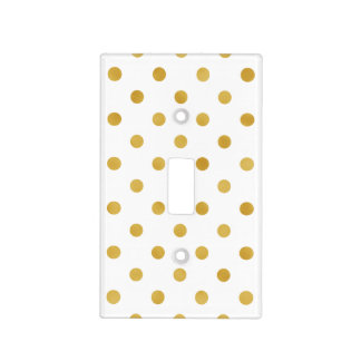 Pretty gold and white polka dots patterns monogram light switch cover
