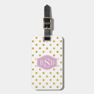Pretty gold and white polka dots patterns monogram luggage tag