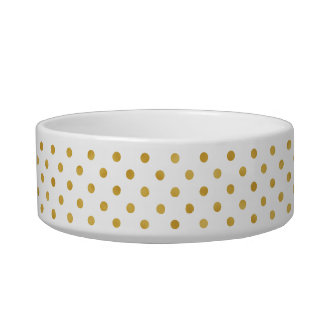 Pretty gold and white polka dots patterns monogram cat water bowls