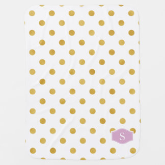 Pretty gold and white polka dots patterns monogram stroller blanket