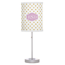 Pretty gold and white polka dots patterns monogram table lamp