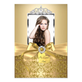 Pretty Gold Bow & Tiara Quinceanera Card