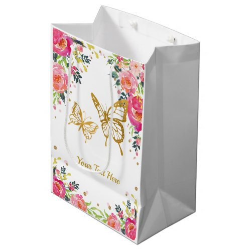 Pretty Gold Butterfly / Pink Watercolor Floral Medium Gift Bag