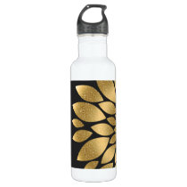 Pretty gold faux glitter abstract flower water bottle