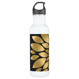 Pretty gold faux glitter abstract flower water bottle