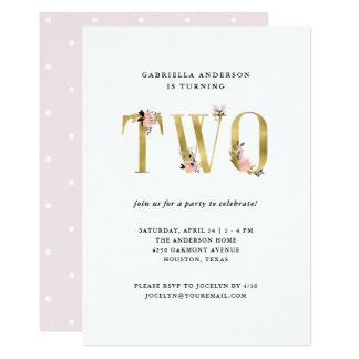 Pretty Gold Floral Text | Second Birthday Party Card
