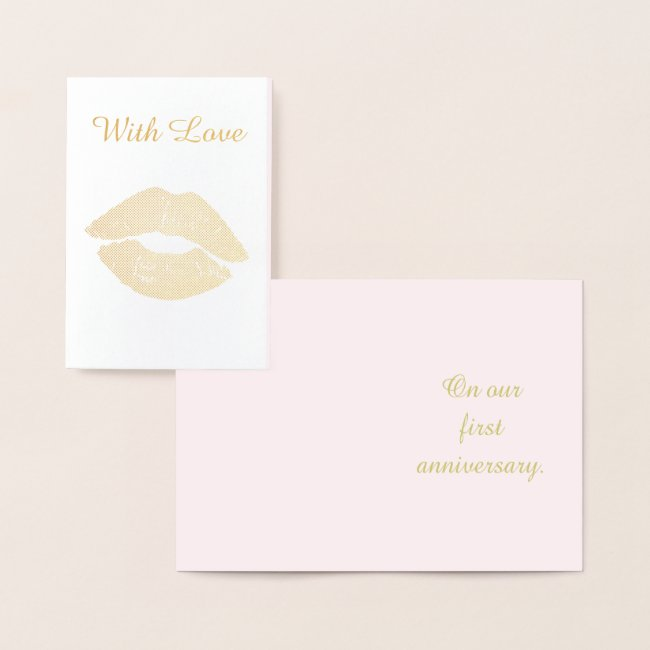 Pretty Gold Kiss First Anniversary With Love