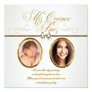 Pretty Gold Photo Quinceanera Invitations