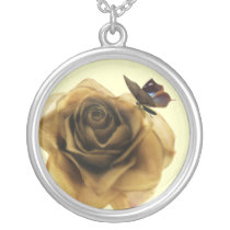 pretty gold rose and butterfly silver plated necklace