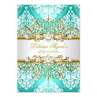 Pretty Gold Teal Vintage Glamour Quinceanera Card