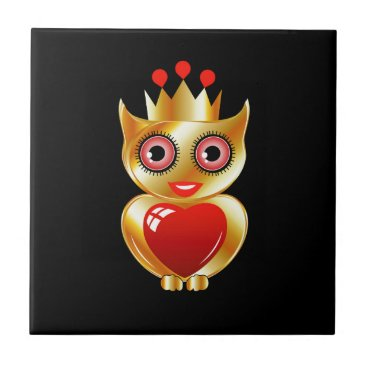 Halloween Themed Pretty golden owl with a red heart ceramic tile