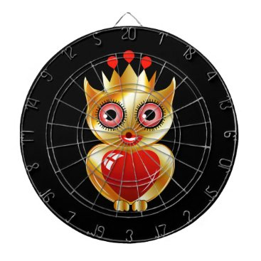 Halloween Themed Pretty golden owl with a red heart dartboard with darts
