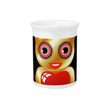 Halloween Themed Pretty golden owl with a red heart drink pitcher