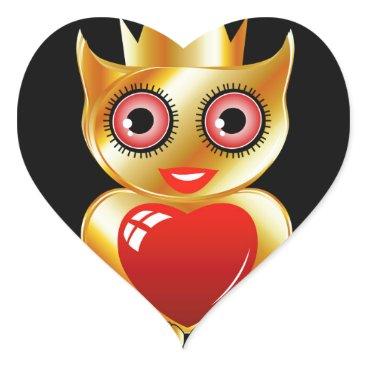Halloween Themed Pretty golden owl with a red heart heart sticker