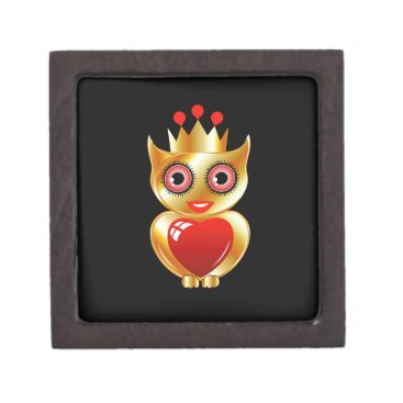 Halloween Themed Pretty golden owl with a red heart jewelry box