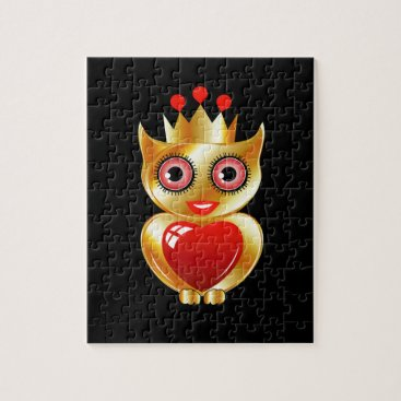Halloween Themed Pretty golden owl with a red heart jigsaw puzzle