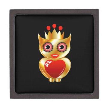Halloween Themed Pretty golden owl with a red heart keepsake box