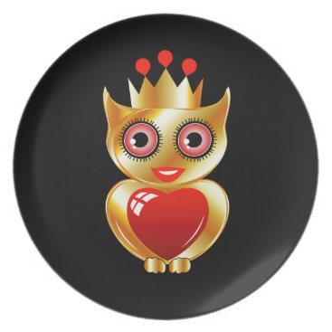 Halloween Themed Pretty golden owl with a red heart melamine plate