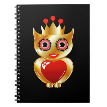 Halloween Themed Pretty golden owl with a red heart notebook