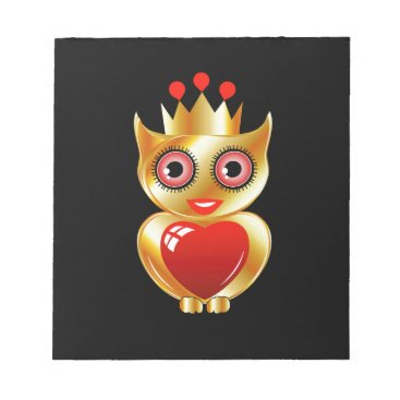 Halloween Themed Pretty golden owl with a red heart notepad