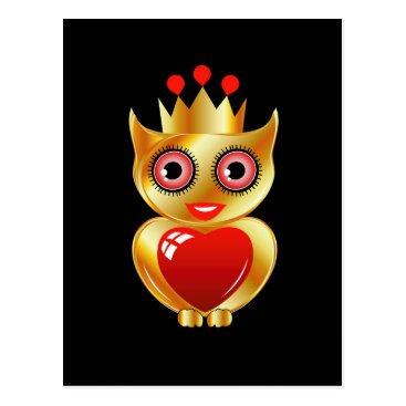 Halloween Themed Pretty golden owl with a red heart postcard