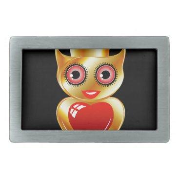 Halloween Themed Pretty golden owl with a red heart rectangular belt buckle