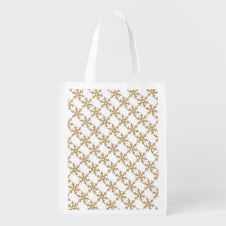 Pretty Golden Snowflake Grocery Bag