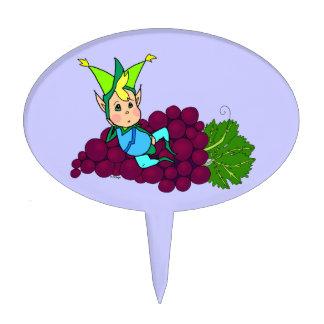 Pretty gordito genie on a cluster of grapes cake pick